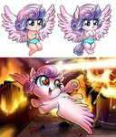 baby fire flying horn humanized magic princess_flurry_heart racoon-kun tears wings