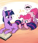baekgup book mustache pinkie_pie twilight_sparkle