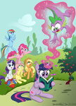 applejack book brenda_hickey costume fluttershy magic main_six pinkie_pie rainbow_dash rarity superman tree twilight_sparkle