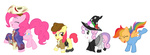 apple_bloom costume cutie_mark_crusaders halloween pinkie_pie rustedrabbit scootaloo sweetie_belle transparent