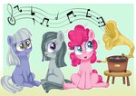 filly gramophone highres lbrwihtdiamonds limestone_pie marble_pie pinkie_pie siblings