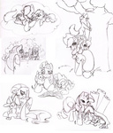 angel apple_bloom applejack cutie_mark_crusaders fluttershy gummy lineart littletiger488 main_six opalescence owlowiscious pinkie_pie rainbow_dash rarity scootaloo spike sweetie_belle twilight_sparkle winona