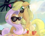 applejack flutterjack fluttershy glasses manfartwich shipping summer sunglasses umbrella