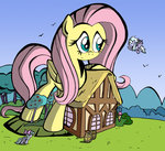barrel big cloudchaser flitter fluttershy fluttershy's_cottage labba94 tree