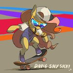 absurdres bling cap docwario fluttershy glasses highres sick_nasty skateboard sunglasses