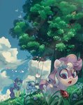 absurdres bird bow butterfly flowers highres kite magic mojitoponyo original_character swing tree