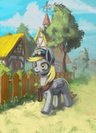 bag derpy_hooves fence hat house lexx2dot0 ponyville post scenery tree