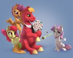 absurdres apple_bloom big_macintosh cutie_mark_crusaders flowers gor1ck highres magic scootaloo sweetie_belle tie