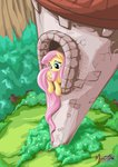 fluttershy highres huge_hair mysticalpha rapunzel tower