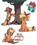 applejack dusty-munji highres rainbow_dash tree