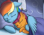bed highres nobody47 rainbow_dash scootaffection scootaloo sleeping
