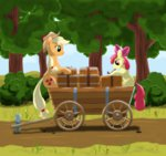 apple_bloom applejack barrel box eriada1992 highres wagon