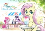 cloud fluttershy glass highres ice nendo23 pinkie_pie princess_twilight rainbow_dash sleeping table tree twilight_sparkle