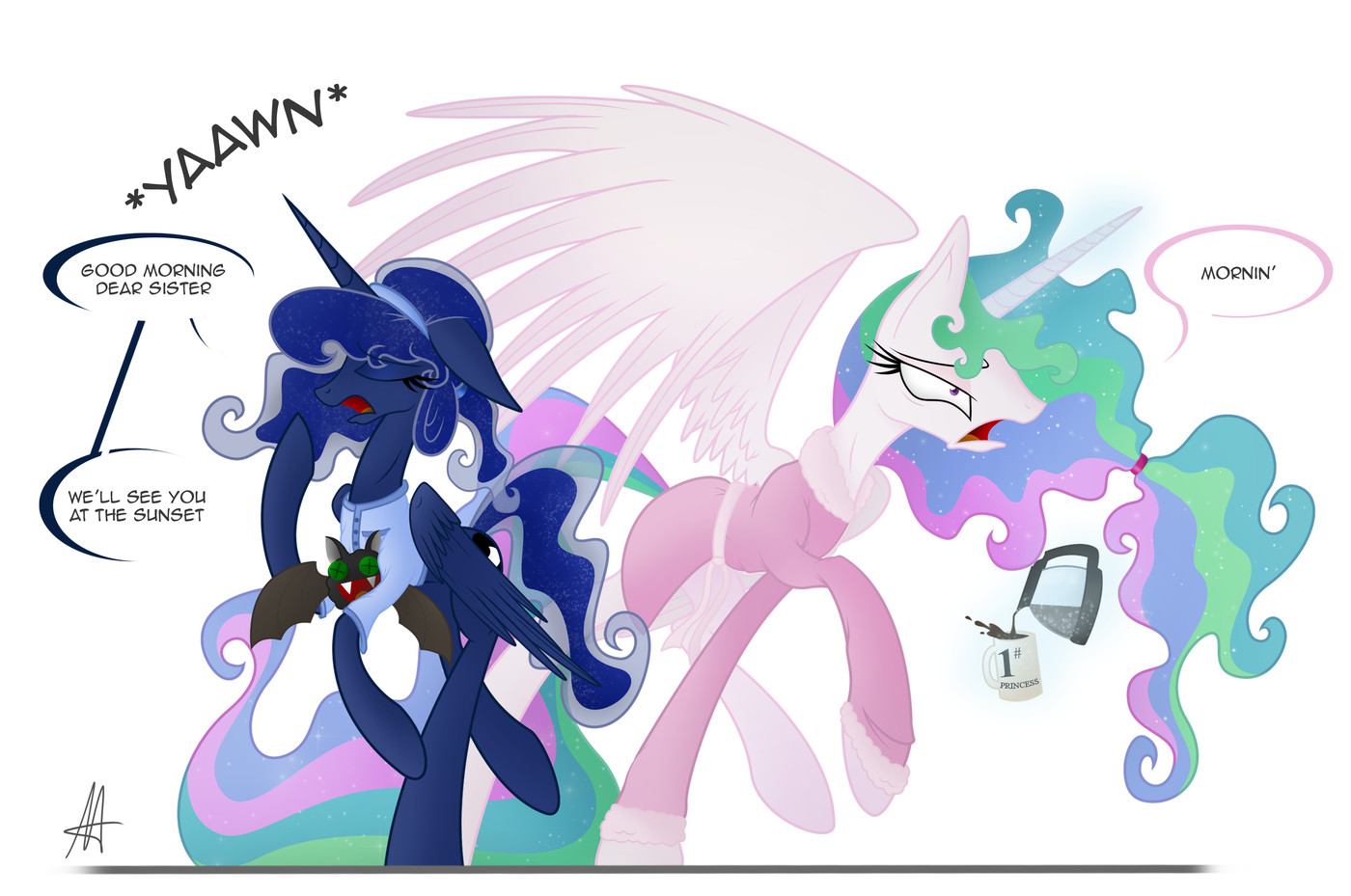 Princess Celestia And Princess Luna Drawn By Metaldrakon