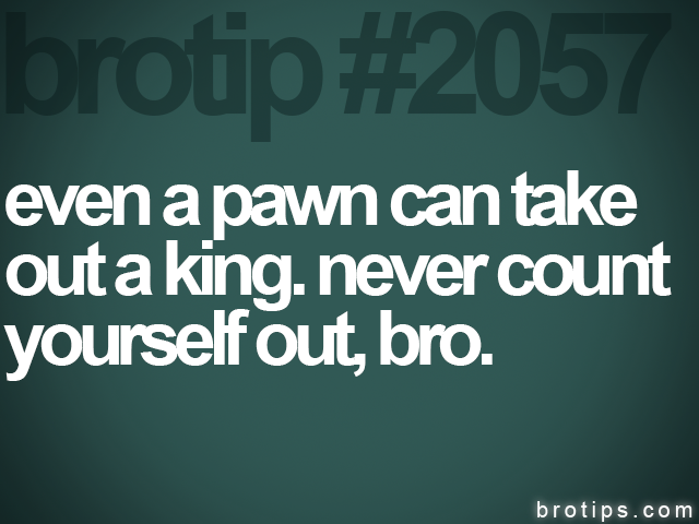 brotip #2057 even a pawn can take&lt;br&gt;