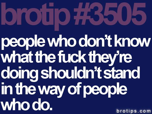 brotip #3505 People who don't know what the fuck they're doing shouldn't stand in the way of people who do.