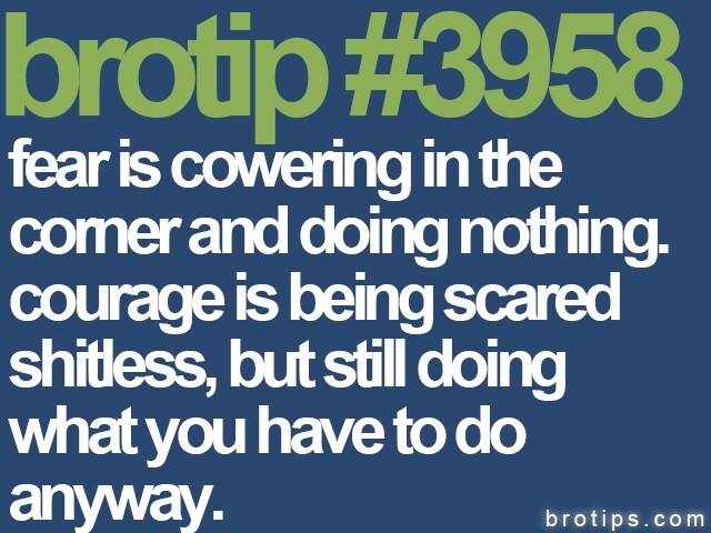 brotip #3958 Fear is cowering in the corner and doing nothing.