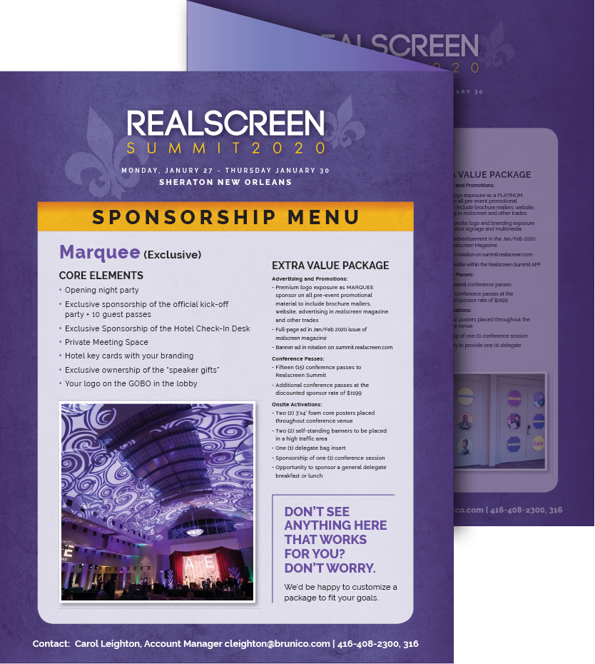 Realscreen West 2019 Sponsorship Menu