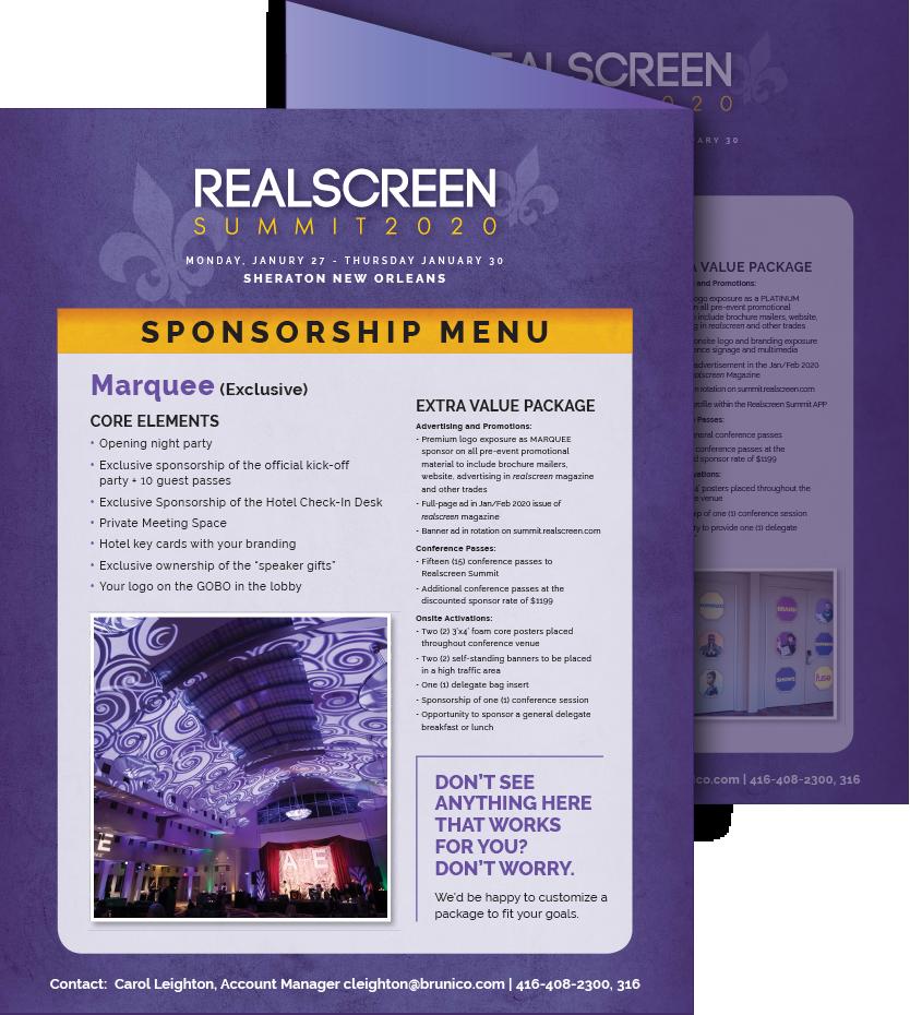 Realscreen West 2019 Sponsorship Menu