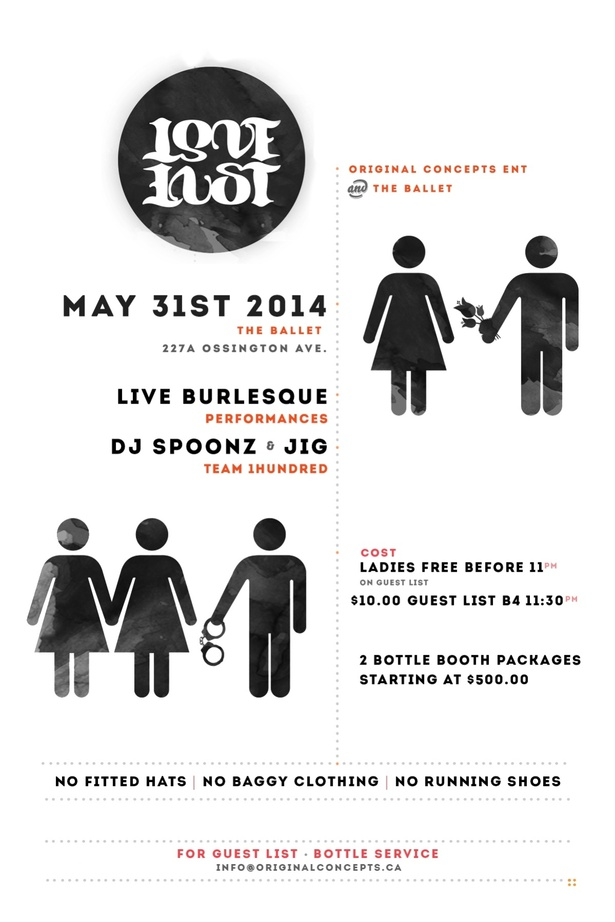 LOVE N' LUST - FT. DJ SPOONZ and LIVE BURLESQUE -  at THE BALLET