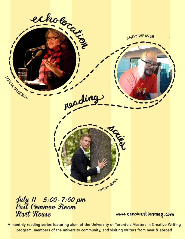 Echolocation Reading Series: Sonja Greckol, Andy Weaver, nathan dueck