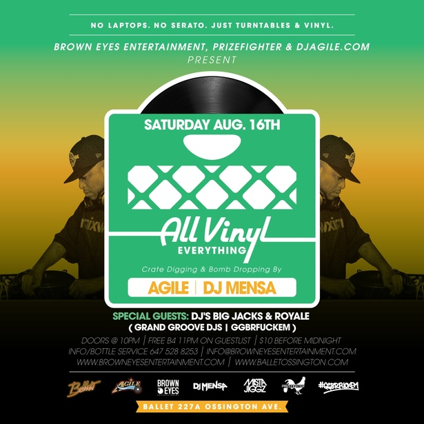 ALL VINYL EVERYTHING w/Agile, Mensa & special guests DJ's Big Jacks & Royale