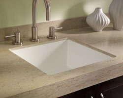 Burled Beach Corian Countertop with Sink