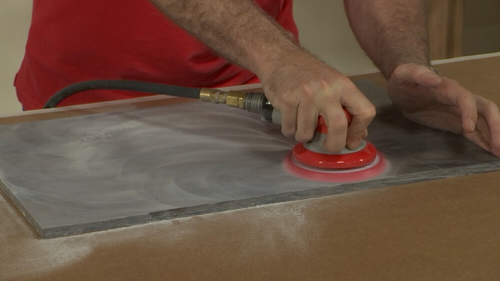 Sanding Solid Surface with 80 Micron Pad