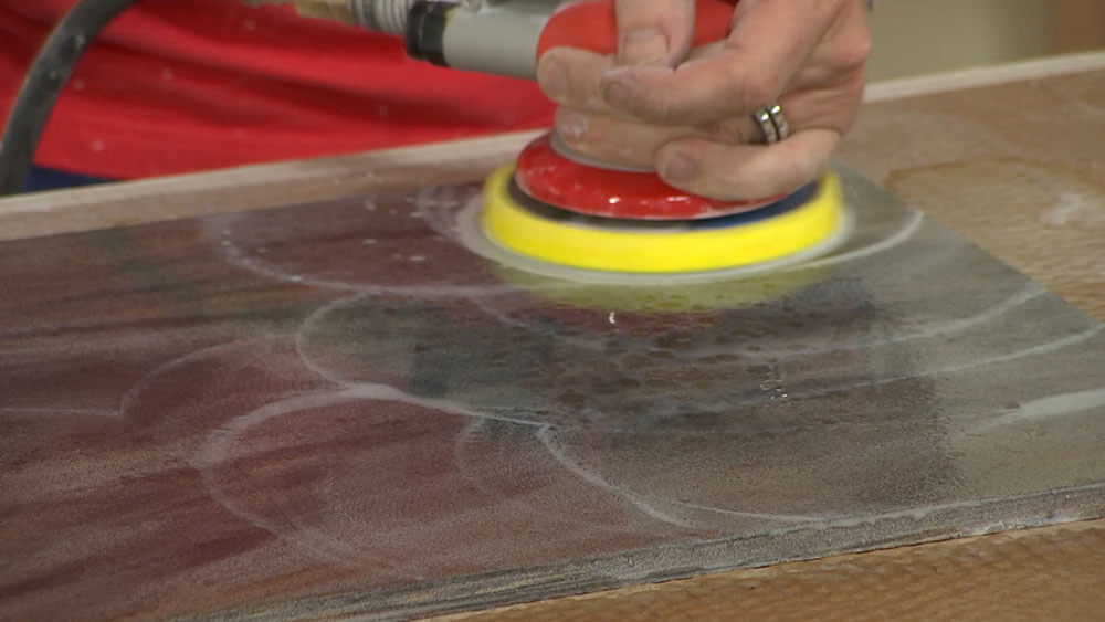 Wet Sanding Solid Surface with a White Trizact Sheet