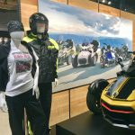 Mannequins dressed to ride. Display vignette for BRP Can-Am Spyder.