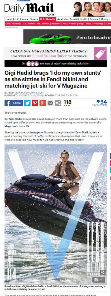 The Daily Mail shared the PR placement of fending branded Sea-Doo with GiGi Hadid
