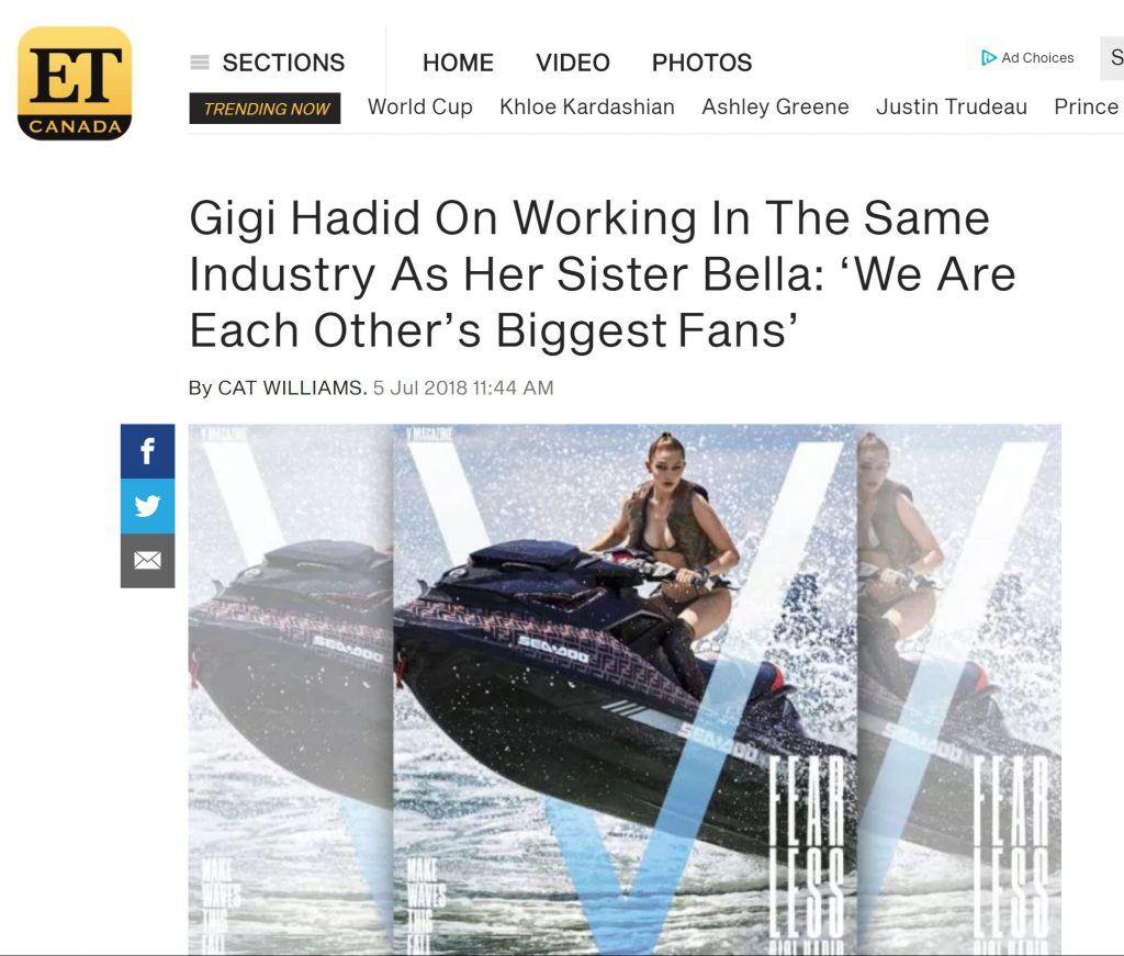 Look Marketing Client Sea-Doo benefited greatly from the PR play with influencer and super model Gigi Hadid aboard a Fendi wrapped Sea-Doo for client BRP.