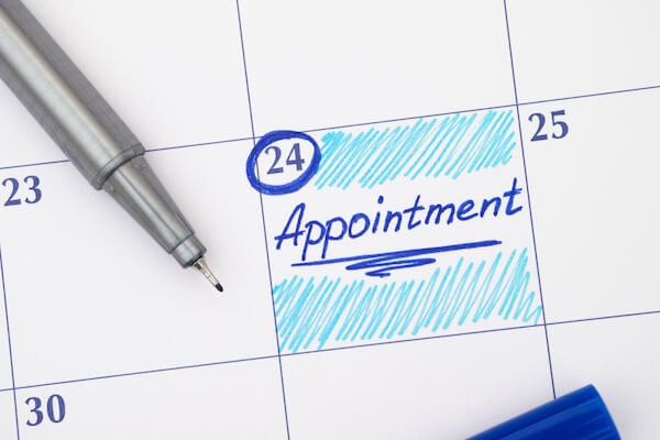 scheduled appointments
