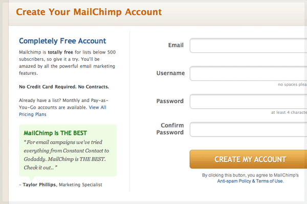 Create Mailchimp Account