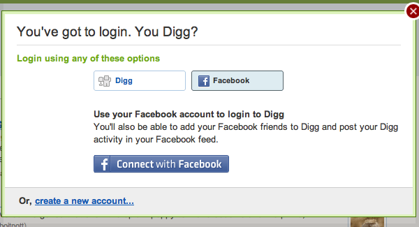 Facebook Connect on Digg