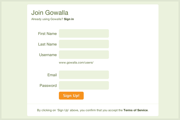 Gowalla registration form