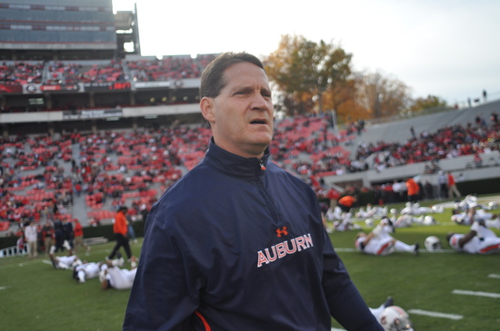 AU Head Coach Gene Chizik. UGA 45, Auburn 7, November 12, 2011, Athens, GA. (Photo: Scates/BI)