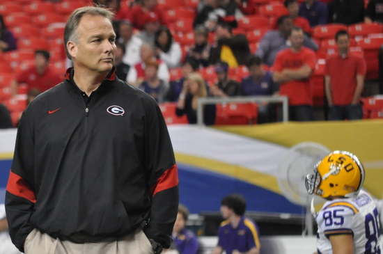 Mark Richt. UGA 10, LSU 42 SEC Championship Game, Dec. 3, 2010, Georgia Dome, Atlanta. (Photo: Scates/BI)