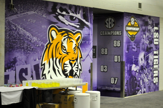 The LSU Locker Room. UGA 10, LSU 42 SEC Championship Game, Dec. 3, 2010, Georgia Dome, Atlanta. (Photo: Scates/BI)