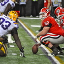 Ben Jones scouts the LSU defense. UGA 10, LSU 42 SEC Championship Game, Dec. 3, 2010, Georgia Dome, Atlanta. (Photo: Scates/BI)