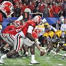 Aarom Murray calls a hot route to Malcolm Mitchell. UGA 10, LSU 42 SEC Championship Game, Dec. 3, 2010, Georgia Dome, Atlanta. (Photo: Scates/BI)