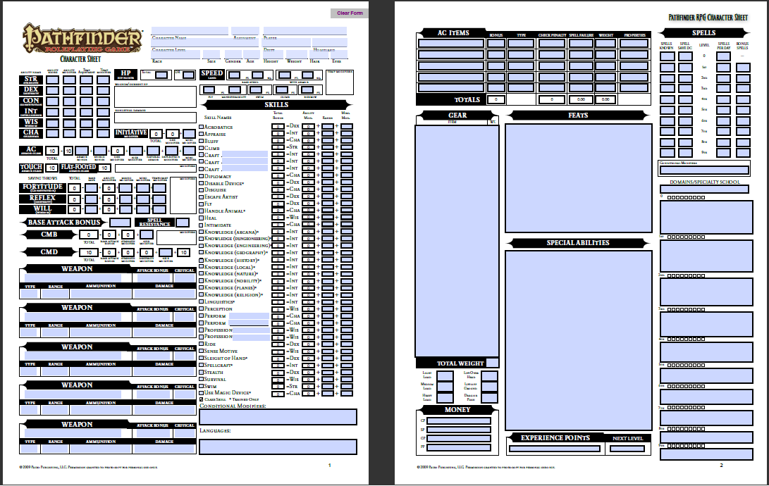 Pathfinder Fillable Pdf Images - Reverse Search