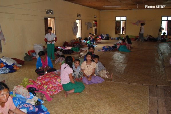 Displaced Shan villagers pictured in a Tangyan shelter in April 2013 Photo: SHRF