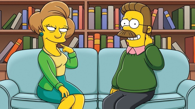 The-Simpsons-Ned-Flanders-Edna-Krabappel-New-Hd-Wallpaper-