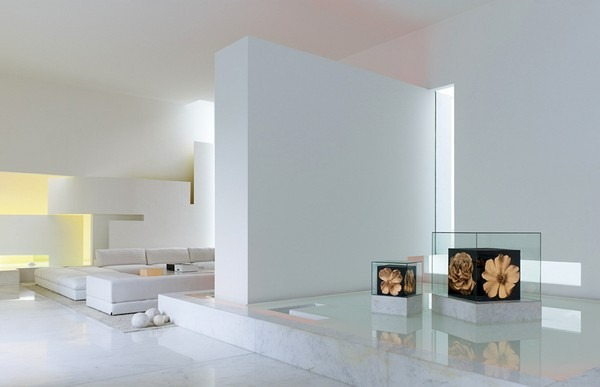 white futuristic residence living area Back to the Future futuristic residence in Mexico