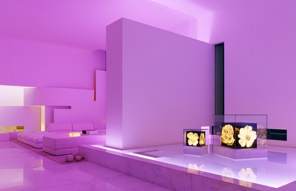 tecas 43 futuristic residence living room violet lighting Back to the Future futuristic residence in Mexico