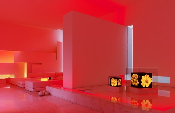 tecas 43 futuristic residence living room red lighting Back to the Future futuristic residence in Mexico