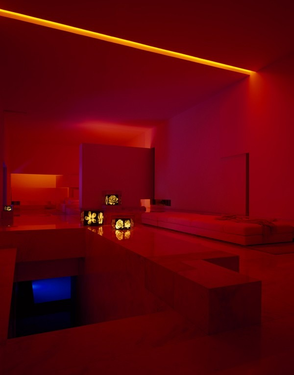 tecas 43 futuristic residence living room dark red lighting Back to the Future futuristic residence in Mexico
