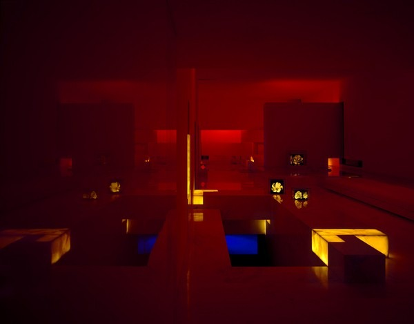 tecas 43 futuristic residence living room dark lighting Back to the Future futuristic residence in Mexico