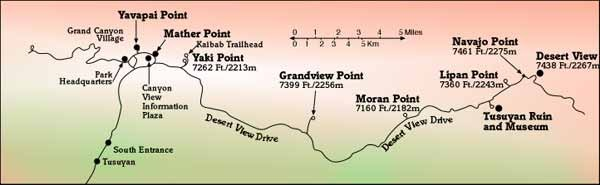 Map of Viewpoints on Desert View Drive, Grand Canyon
